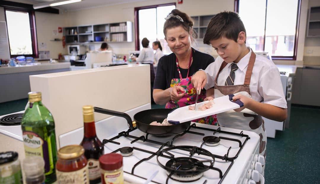 Middle School students Oakleigh Grammar in home economics kitchen
