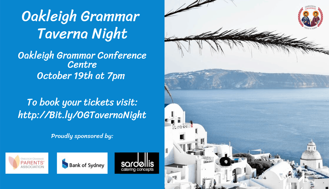 Oakleigh Grammar Taverna Night Oakleigh Grammar Conference Centre October 19th At 7pm To Book Your Tickets Visit Http Bit.ly Ogtevernanight Proudly Sponsored By (2)
