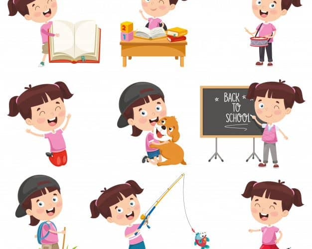 Vector Illustration Cartoon Girl Doing Various Activities 29937 2583